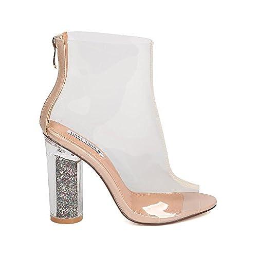 Women Glitter Lucite Heel Bootie - Cosplay