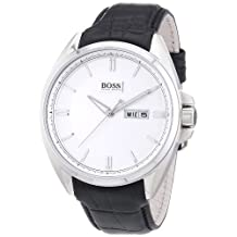 Hugo Boss White Dial Black Leather Mens Watch 1512875