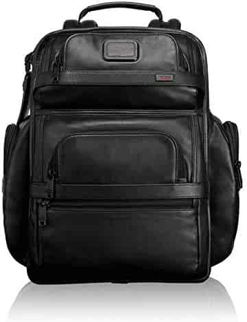 TUMI - Alpha 2 T-Pass Business Class Leather Laptop Brief Pack - 15 Inch Computer Backpack for Men and Women - Black