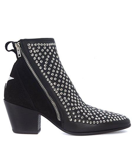 Mexicana Kvinna Läder Och Nitar Texan Boots Svart