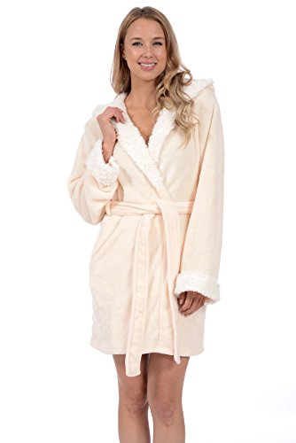 Body Candy Women's Plush Hooded Robes with Ears (White Cat, Large) Cat Robe