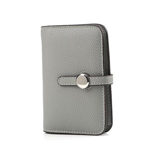 Bi Fold Clutch - Short Style Bifold Clutch Wallet Minimalist Leather Coin Wallet Women Small Grey
