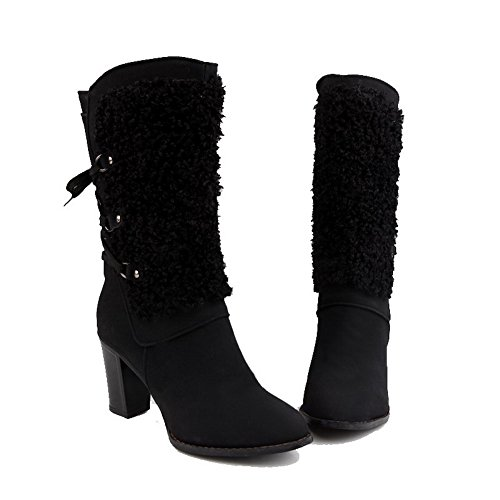 AllhqFashion Womens Mid Top Lace-Up Frosted High Heels Round Closed Toe Boots Black swzlMV