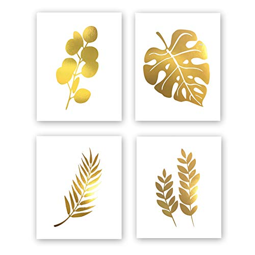- Abstract Tropical Leaves Gold Foil Print, Modern Nordic Botanical Painting Cardstock Wall Art Print Simple Life Poster Living Room Decor (8 X 10 inch, Set of 4, UNframed)