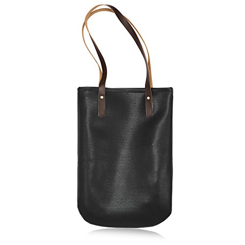Women Fashion Color Large Capacity Bag Shoulder Tote Bag (Black) - 9