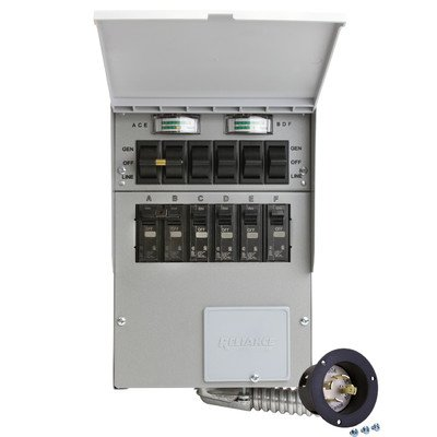 306A Pro/Tran2 30-Amp 6-Circuit 2 Manual Transfer Switch with Optional Power Inlet