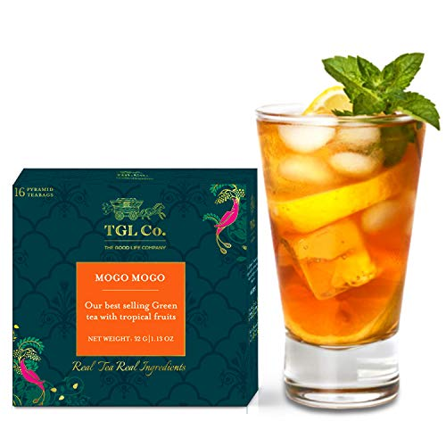 TGL Mogo Mogo Green Tea Bags, 16 Tea Bags, Ice Brews Cold Brew and Hot Brew Ice Tea| Used for Iced Tea Cocktails, Mocktail |Ingredients – Banana, Mango, Melon, Passion flower Leaves, Sunflowers, Guava