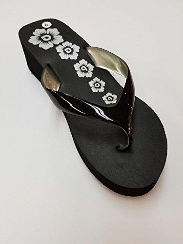 Sandali Infradito Da Spiaggia Con Zeppa Womens 2 Design Floreale Con Cinturino Lucido
