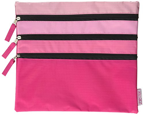 (Zipster Triple Zip Pouch, Pink, One Size)