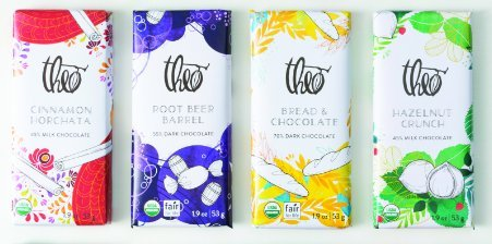 Nostalgic Chocolate Bars (Theo Chocolate Organic NEW Fantasy Flavors 4-Bar Collection, 7.6-ounces)