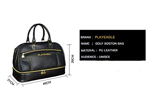 PLAYEAGLE Weave Waterproof Large Capacity Golf Boston Bag PU Leather Travel Duffel Bag with Shoe Layer