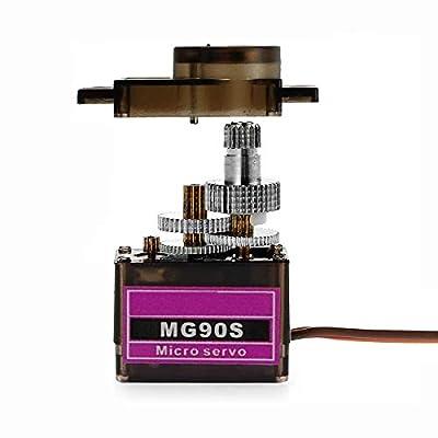 DaFuRui 5Pcs MG90S Micro Servo Motor Mini 9G Metal Geared Micro Servo Compatible for Arduino RC Robot Helicopter Airplane Boat Controls: Toys & Games