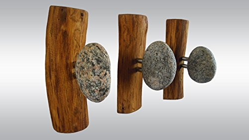 3 pcs Stone Hooks - hanger Coat Rack with natural Beach STONES. Rock towel hangers. Beach Stone Hanger - Wall mounted solid wood coat rack by LEDinStone