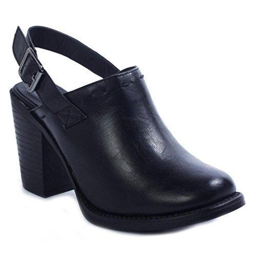 Back Strap Clog - Pierre Dumas Ravenna-3 Women's Vegan Leather Adjustable Slingback Chunky Stacked Heel Clog Mule, Black, 9 B(M) US