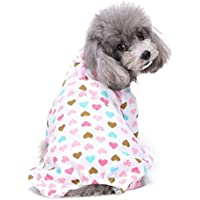 Pet Puppy Apparel,FUNIC Cotton Pajamas Teddy Dog Soft Homewear (S, Pink)