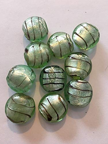 10-16mm Mint Lined Coin Shape Glass Foil Beads #ID-195