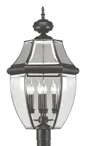 Livex Lighting 2358-04 Outdoor Post with Clear Beveled Glass Shades, Black by Livex Lighting  B008G45E62