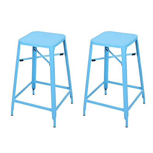 Asense 26-inch Height Metal Stackable Square Stools (Set of Two) (Square Metal, Sky Blue)