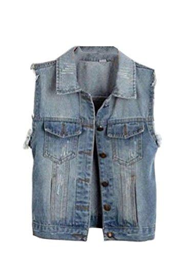 Oulifa Women's Vintage Punk Frayed Denim Jean Waistcoat Vest Jacket Medium