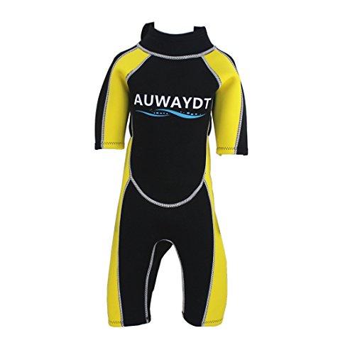 AUWAYDT Kids Wetsuits 2mm Neoprene Youth Premium Back Zip Shorty Yellow,10 (Wetsuit Yellow Shorty)