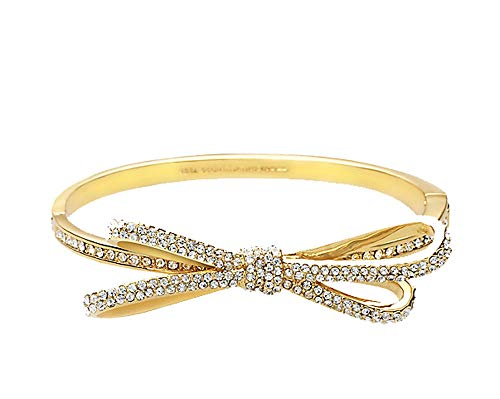 (Kate Spade Tied Up Pave Bow Bangle Goldtone )