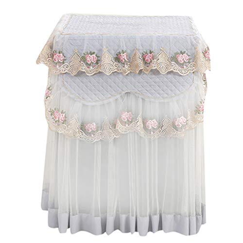 XGao 1pc Washing Machine Dust Top Cover Protection Fridge Lace Ruffle Floral Durable Soft Easy to Wear Clean Avoid Discoloration Paint Stripping Aging and Rust Fits Most Standard Washing Machines (A)