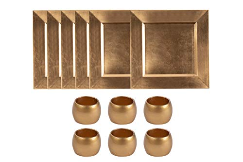 Square Plate Chargers (Tableware Set - 12-Pack Square Charger Plates and Napkin Rings, Dining Table Decor, Perfect for Parties, Weddings and Catering Services, Metallic)
