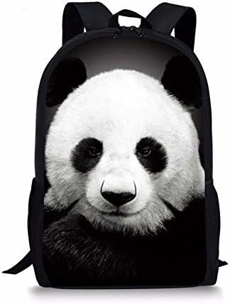 Babrukda Cool Panda 3D Printed Fashion Backpack Black Bookbag Mens Womens Pack