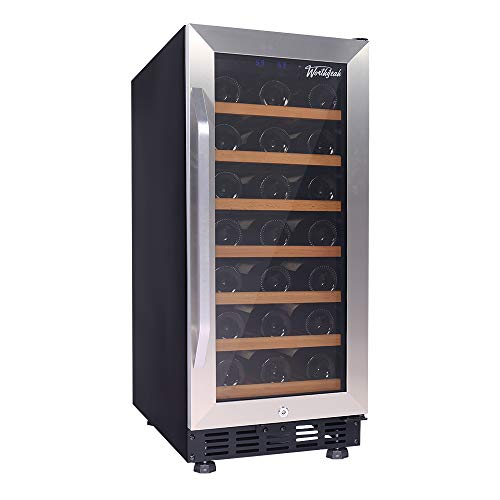 Tinted Tempered Glass Shelves - Worthyeah Wine Cooler 15 Inch 31 Bottle Built-in or Freestanding Compressor Wine Refrigerator with Stainless Steel & Double-Layer Tempered Glass Door,Child Safety Lock and Compressor Protection Grid