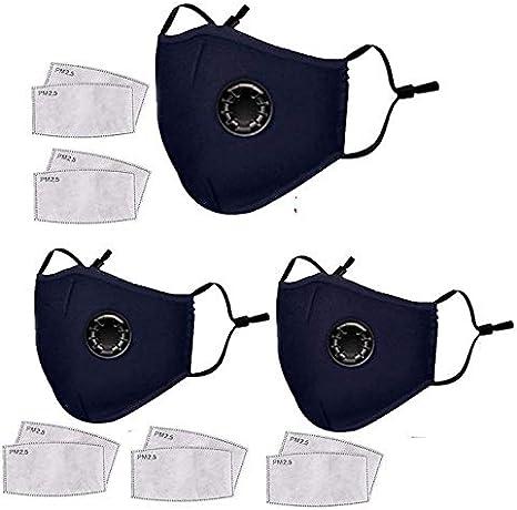 Navnika® - 3 mascarillas azules antipolvo reutilizables, lavables, con filtro para motocicleta, bicicleta, correr, ciclismo, actividades al aire libre, con 10 filtros de carbón activado