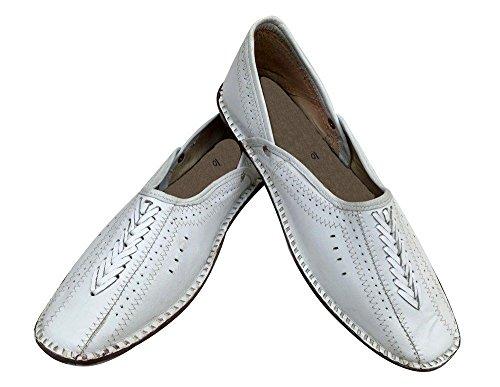 Step N Style Zapatillas Sherwani Hechas A Mano Tradicionales Khussa Jutti Rajasthani Mojari Blancas