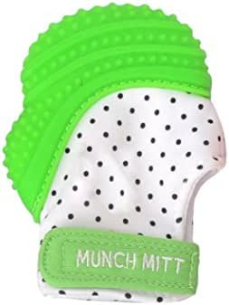 Munch Mitt Teething Mitten - The Origianl Mom-Invented Silicone Teether Mitten with Travel Bag – Ideal Teething Toys for Baby Shower Gift - Green Polka Dot