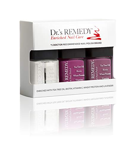 Dr.'s Remedy All Natural Vegan Nail Polish BRILLIANT BERRY Organic Non Toxic 3 Piece Quick Dry Long Lasting - TOTAL Two-In-One Glaze BRAVE Berry MINDFUL Mulberry