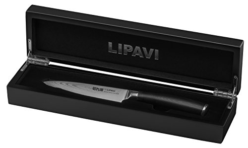 LIPAVI Damascus Steel Utility Knife 5 Inch - Wooden Gift Box - Japanese VG10 Steel and Extremely Durable G10 handle by LIPAVI