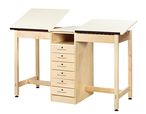 Diversified Woodcrafts DTA-21A UV Finish Solid Maple Wood 2 Station Art/Drafting Table, 60'' Width x 36'' Height x 24'' Depth by Diversified Woodcrafts