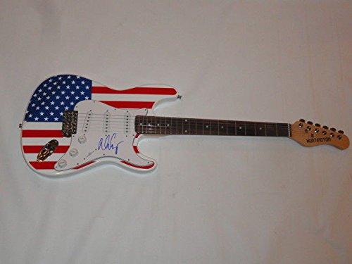 Alice Cooper Autographed Signed Usa Flag Electric Strat Guitar Schools Out Legend JSA Authentic