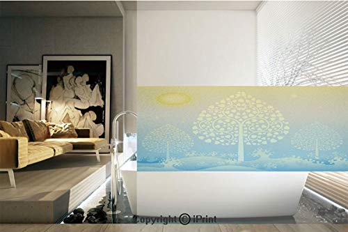 (Decorative Privacy Window Film/Thai Pattern Design Illustration of Gold Tree Oriental Culture Asia Eastern Ways Decorative/No-Glue Self Static Cling for Home Bedroom Bathroom Kitchen Office Decor)
