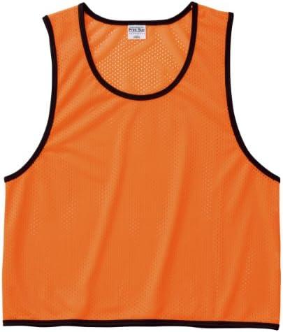 スポーツ、イベント、スクール、体育など さまざまな用途に使える メッシュ ピブス (ベスト型ゼッケン) 蛍光オレンジ XXL