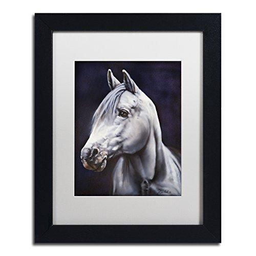 Trademark Fine Art White Arabian Stallion by Jenny Newland White Matte Black Frame, 11 x 14 by Trademark Fine Art