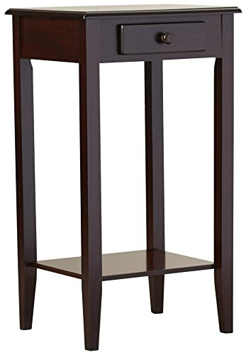 Indoor Plant Stand, Wood Pedestal Telephone Table With Storage Drawer, Brown Cherry Finish, Contemporary Style - Brown Cherry Telephone