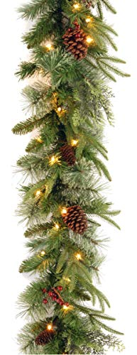 National Tree 9 Foot by 10 Inch Feel Real Colonial Garland with 15 Pine Cones, 15 Red Berries and 50 Dual Color Battery Operated LED Lights with Timer and 9 Functions (PECO7-395D-9AB) (Pine Cones Fireplace In)