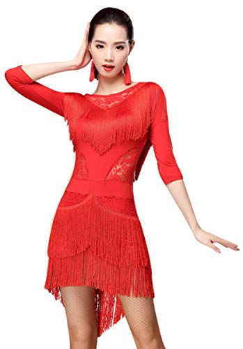 ZX Women Fringed Latin Costume Lace Neck Tango Rumba Latin Dance Dress Performance (Tag M, Red)]()
