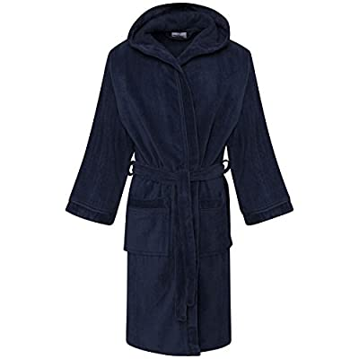 Boys Kids Pure 100% Egyptian Cotton Nightgown Hooded Hood Bathrobe with Pockets
