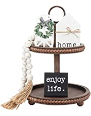 GENMOUS & CO.Decorative 2 Tiered Serving Tray Square Wooden Farmhouse with Wood Bead Garland Tassels for Rustic Kitchen Dinning Entryway Coffee Table with Pallet Wood Cake Stand