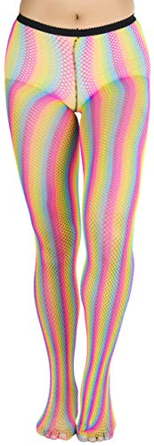 ToBeInStyle Women's Vibrant Rainbow Fishnet Tights - Multicolored