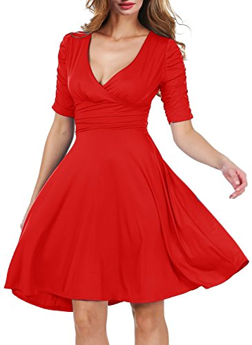 labaqiangj Elegant Women 3/4 Sleeve Ruched Waist Classy V-Neck Casual Cocktail Dress RedMedium (Ikea Dressers For Cheap)