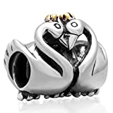 Best Fit Pandora Charms Friend Heart Charms - Gold-plated Crown Swan Charm 925 Sterling Silver Animal Review