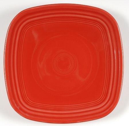 Homer Laughlin Fiesta-Scarlet (Newer) Square Luncheon Plate, Fine China Dinnerware