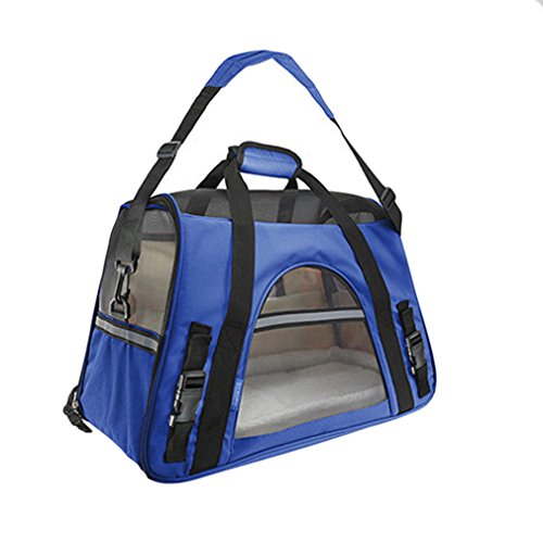 Pet Carrier Soft Sided Large Cat / Dog Comfort Sapphire Blue Bag Travel (Sapphire Cats)