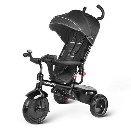 besrey Kids Tricycle 4 in 1 Baby Trike with Steering Handle N Safety Belt - Black (Black Trike)